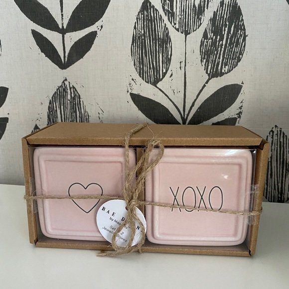 Rae Dunn set of 2 small jewelry boxes love xoxo